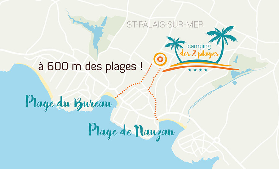 Camping les deux plages 4 toiles camping saint palais for Camping st palais sur mer avec piscine couverte